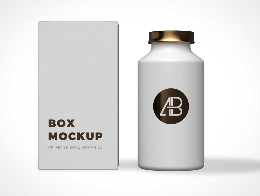 Men's Copper Lid Cosmetic Shaving Cream Bottle & Packaging PSD Mockup