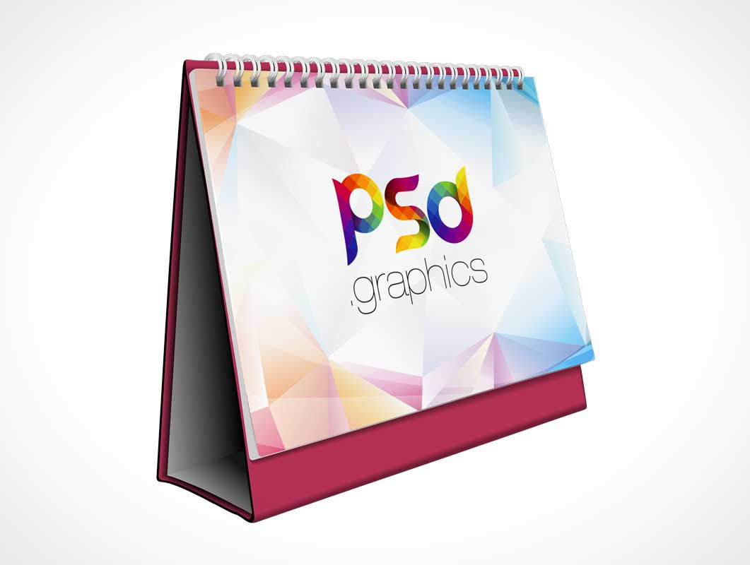 Office Desk Ring Bound Folding Tent Calendar PSD Mockup