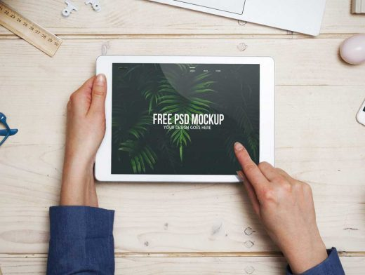 Person Navigating Landscape iPad Tablet PSD Mockup
