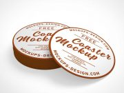 Round Cardboard Drink Coasters PSD Mockup