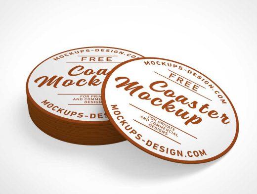 Round Cardboard Drink Coasters PSD Mockup