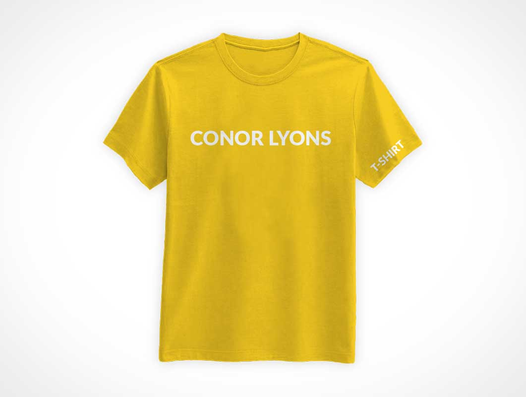 Round Neck Men's Cotton T-Shirt Front PSD Mockup