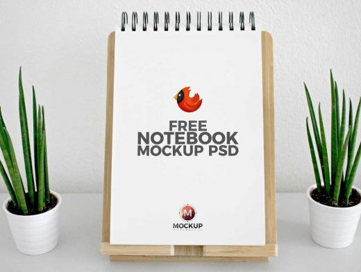 Spiral Ring Bound Notebook Pad PSD Mockup