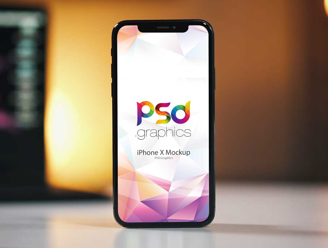 Standing iPhone X Facing Forward PSD Mockup
