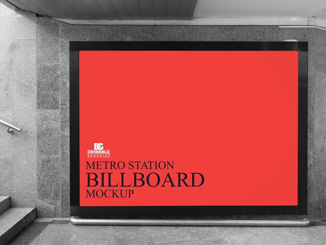 Station Stairwell Billboard Advertising PSD Mockup
