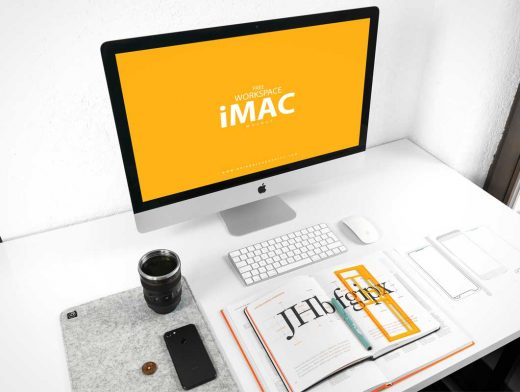Student's iMac Workstation Above Shot PSD Mockup