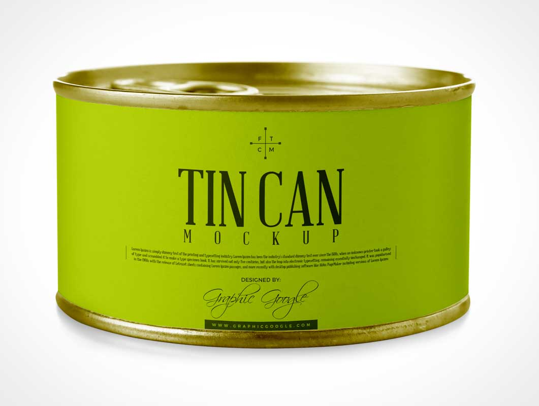 Tin Can With Pull Tab Lid PSD Mockup