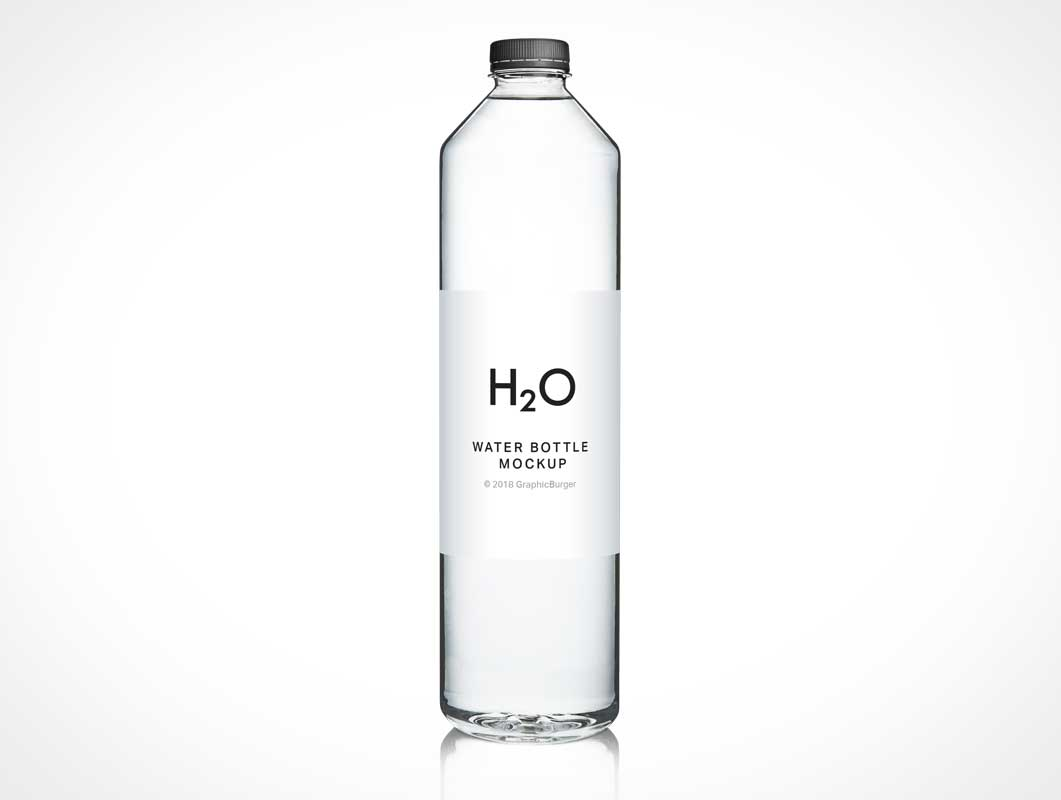 Transparent Plastic Sealed Water Bottle PSD Mockup