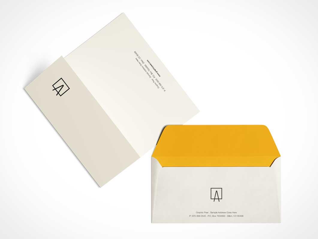 Unsealed Envelope & Folded A4 Letter PSD Mockup