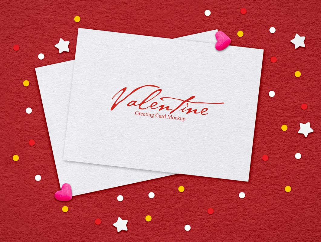 Valentines Card Peppered in Stars & Hearts PSD Mockup