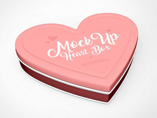Valentine's Day Tin Heart Shaped Chocolate Container PSD Mockup