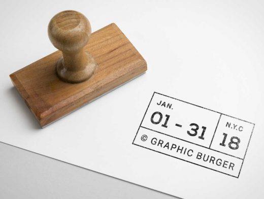 Versatile Rubber Ink Stamp PSD Mockup