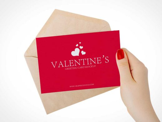 Woman Presenting Valentines Day Card PSD Mockup