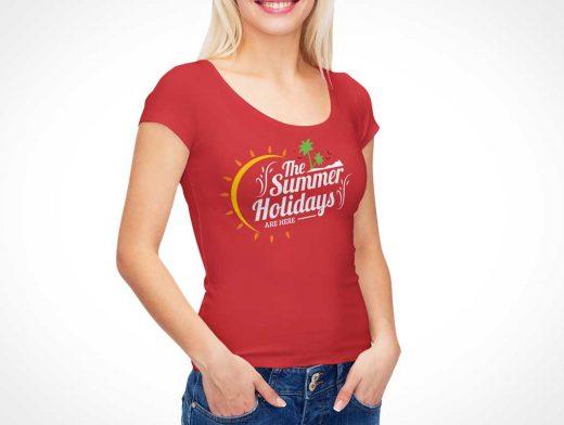 Woman's Round Collar Cap Sleeve T-Shirt Front PSD Mockup