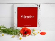 Wooden Square Photo Picture Frame & Valentines Flowers PSD Mockup