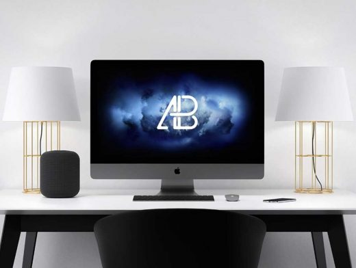 iMac Pro Workstation, Keyboard, Speaker & Lamps PSD Mockup