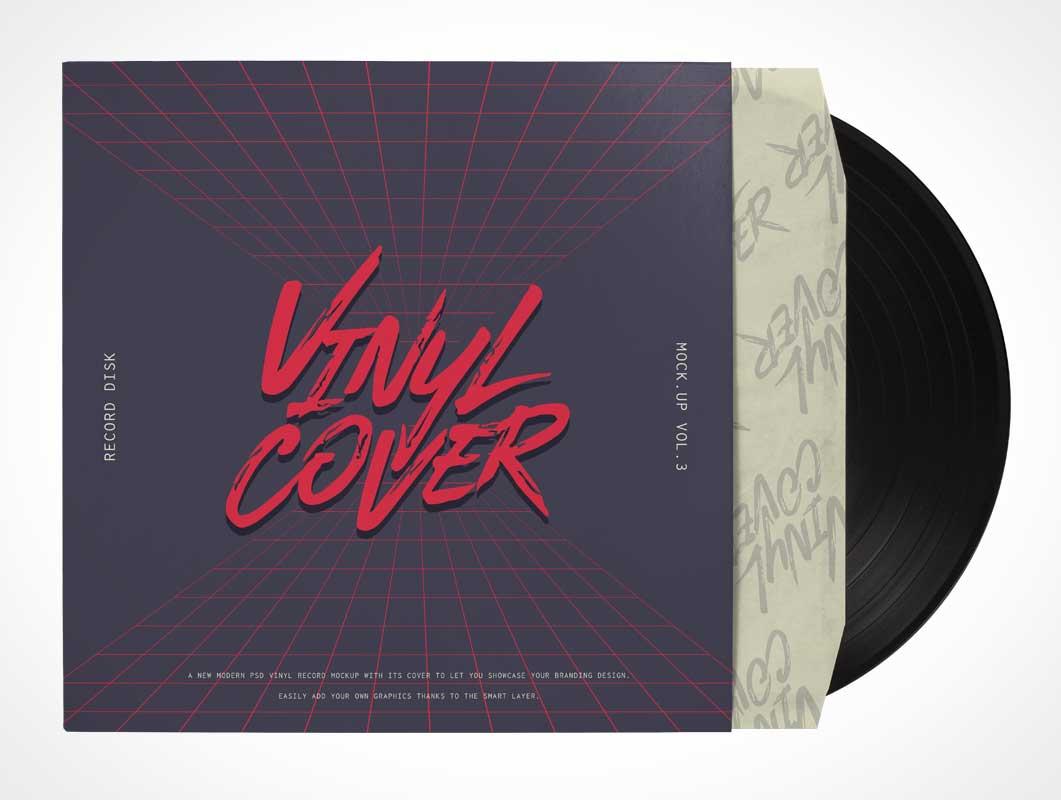 70's Kung Fury Style Vinyl Record & Sleeve Jacket PSD Mockup