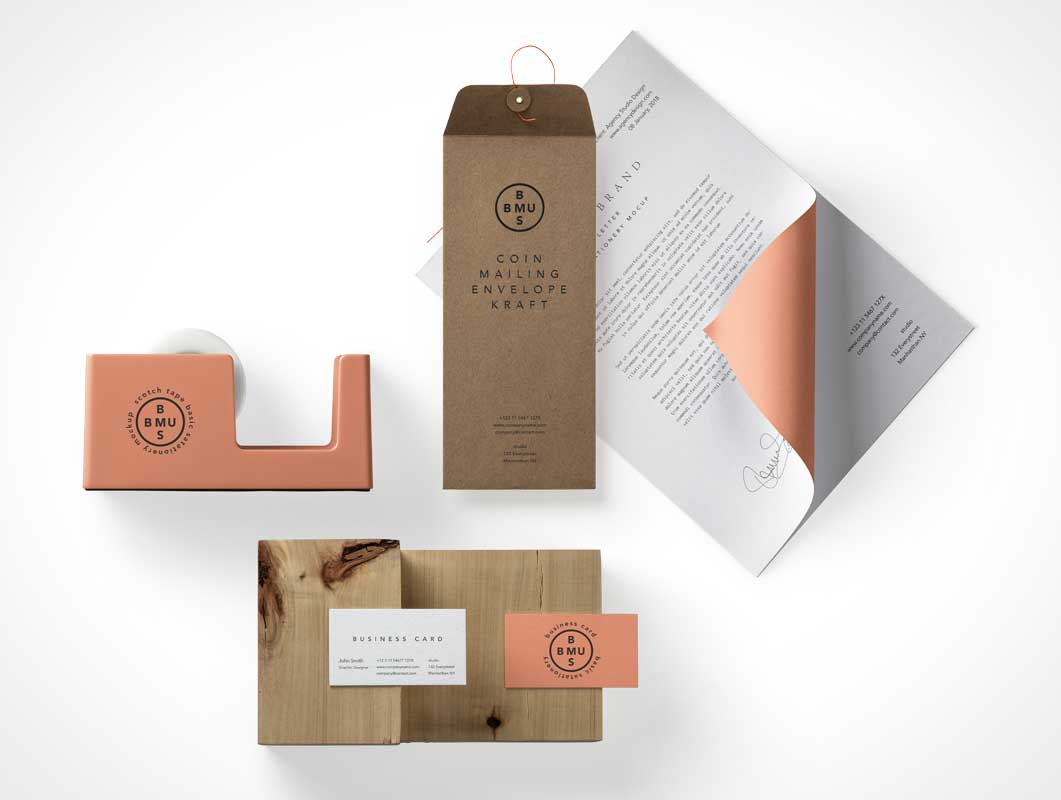 A4 Letterhead, Tape Dispenser & Manilla Envelope PSD Mockup