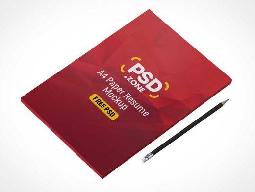 A4 Paper Résumé Cover Stack PSD Mockup