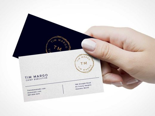 Business Card Hand-off Front & Back sides PSD Mockup