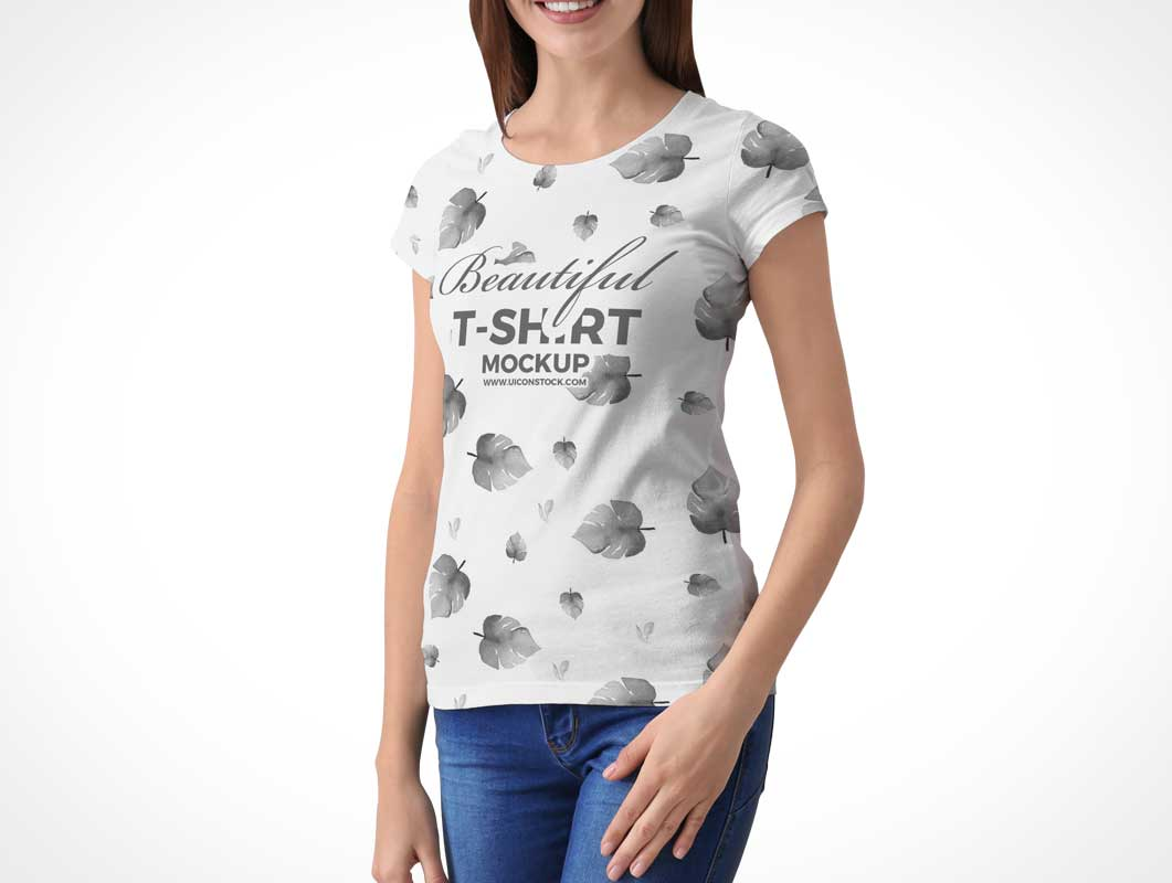 Cap Sleeves Round Neck Cotton T-Shirt Front PSD Mockup