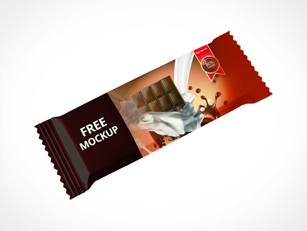 Chocolate Candy Bar Wrapper PSD Mockup