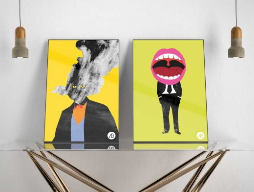 Double-Hung Portrait Posters PSD Mockup