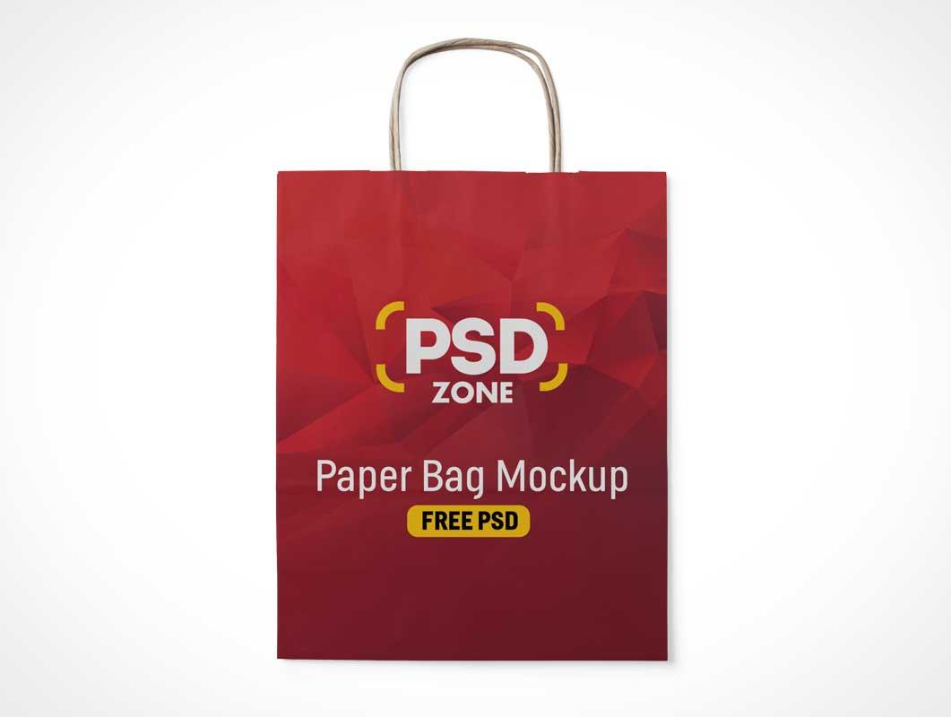 Flat Folded Paper Shopping Bag Front & Handle PSD Mockup