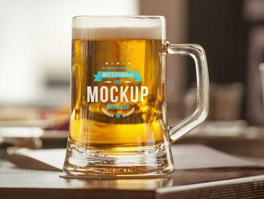 Glass Beer Mug & Ale Head PSD Mockup