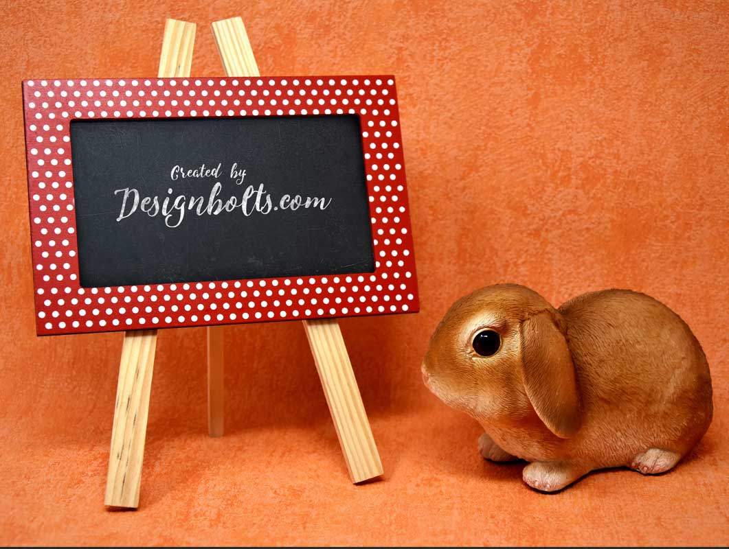 Happy Easter Easel Message & Bunny PSD mockup