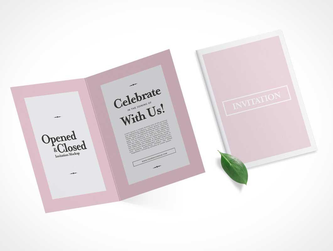 Heavy Stock Invitation Card Front & Inside Panels PSD Mockup