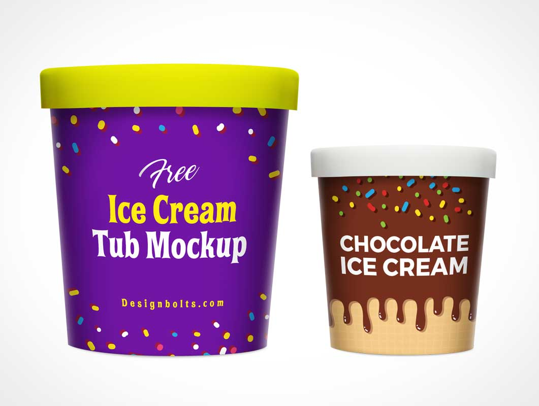 Ice Cream Containers Various Sizes PSD Mockup