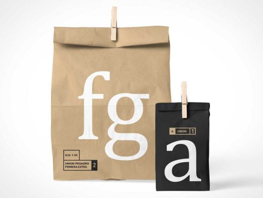 Paper Shopping Bag & Lunch Bag PSD Mockup