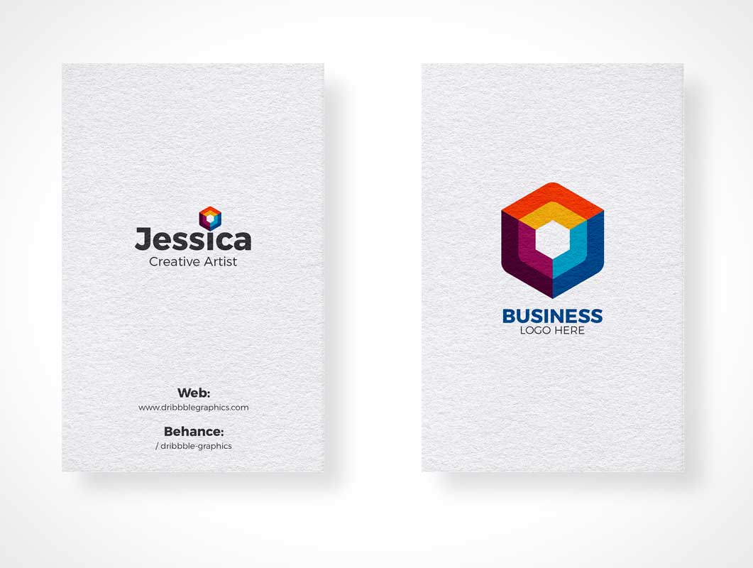 Portrait Mode Business Card Stacks Pair PSD Mockup