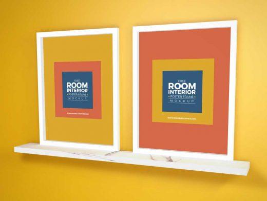 Portrait Poster Frames & Marble Shelf PSD Mockup