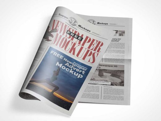 Public Newsletter Tabloid Cover Paper PSD Mockup