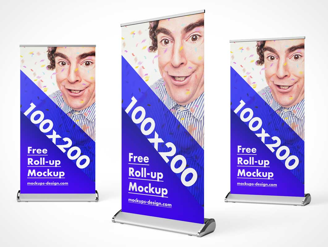 Rollup Trade-Show Event Display Stand PSD Mockup