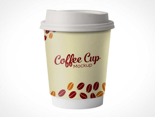 Small 11oz Takeout Paper Coffee Cup & Plastic Lid PSD Mockup