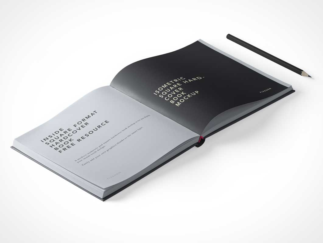 Square Hardcover Magazine Publication PSD Mockup