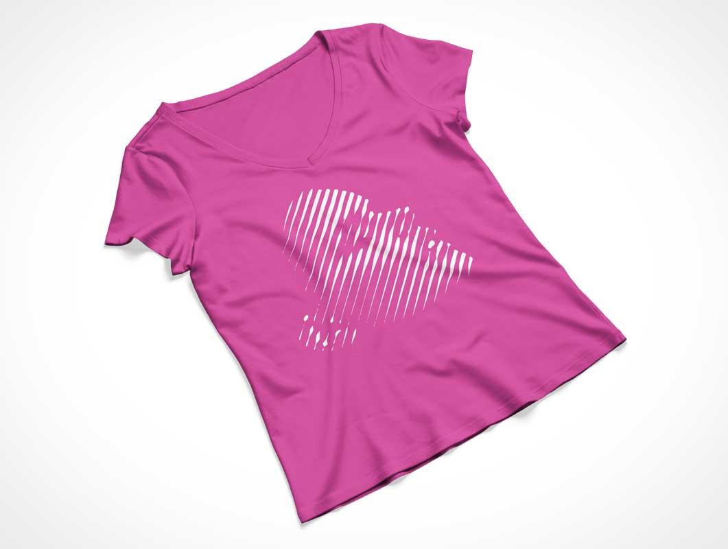 Women's Cap Sleeve V-Neck T-Shirt Pair Front & Back PSD Mockup