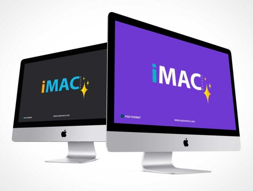 iMac Workstations Product Branding PSD Mockup