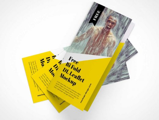 2 Panel Bi-Fold Brochure Front & Back PSD Mockup
