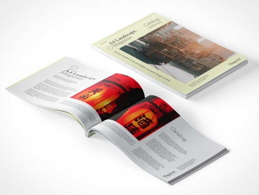 A4 Softcover Publication Magazine Cover & Inner Pages PSD Mockup