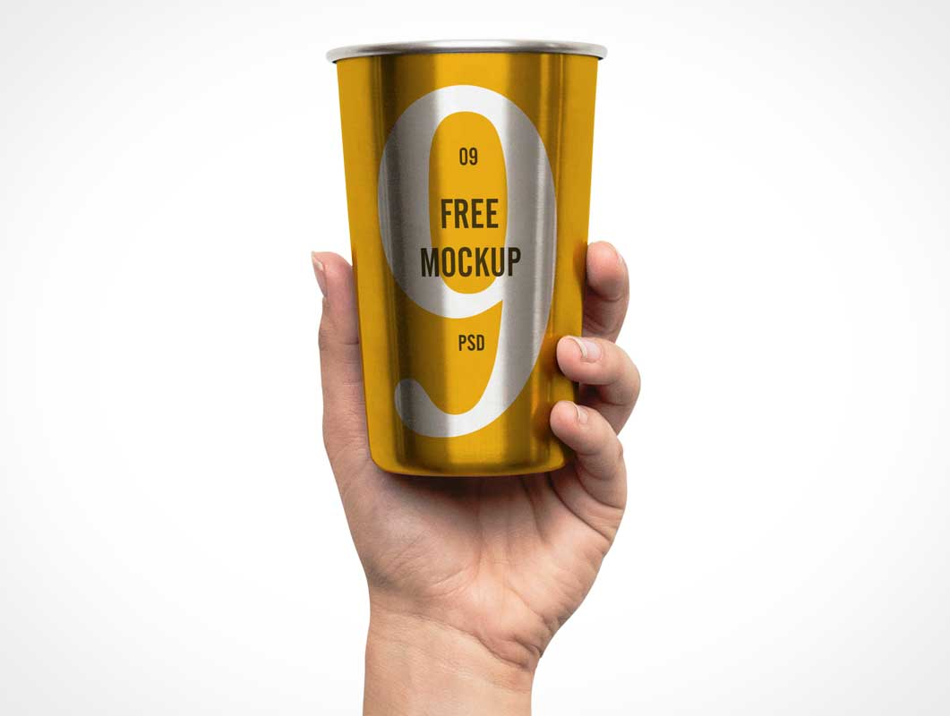 Aluminum Victory Cup & Hand PSD Mockup