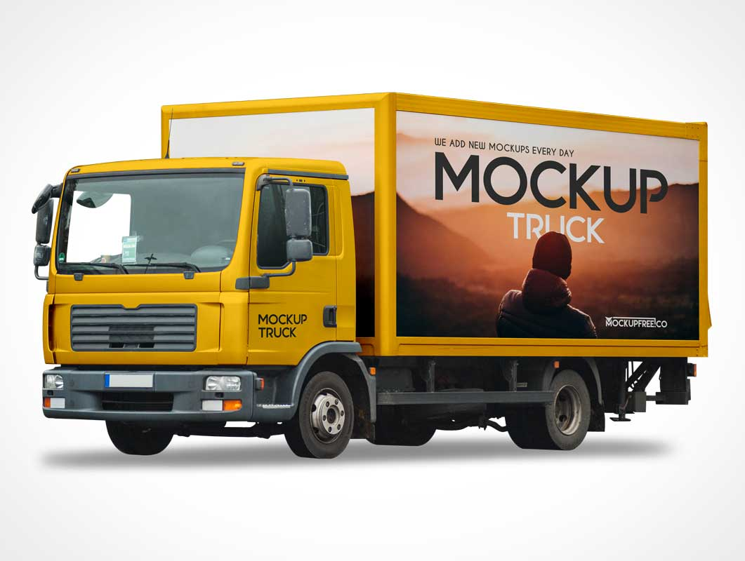 Box Cargo Van Delivery Truck & Cab PSD Mockup
