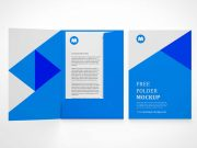Branded Stationery Pocket Folder & Letterhead PSD Mockup
