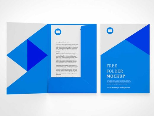 Branded Stationery Pocket Folder & Letterhead PSD Mockup