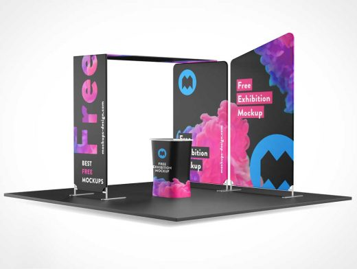 Branded Trade Show Exhibition Booth PSD Mockup