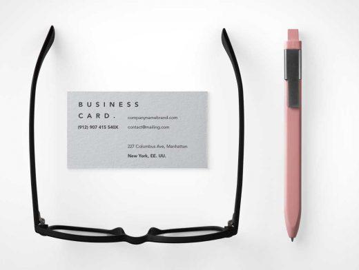 Business Card Branding & Stylus Pen PSD Mockup