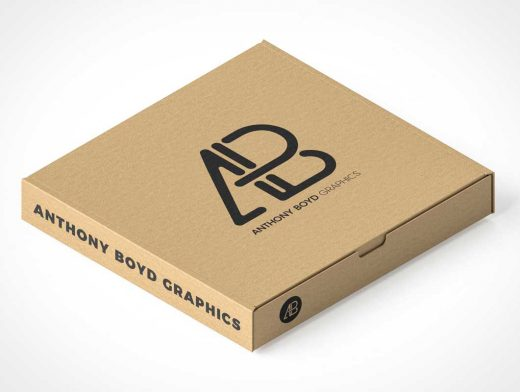 Closed Cardboard Pizza Box Perspective PSD Mockups